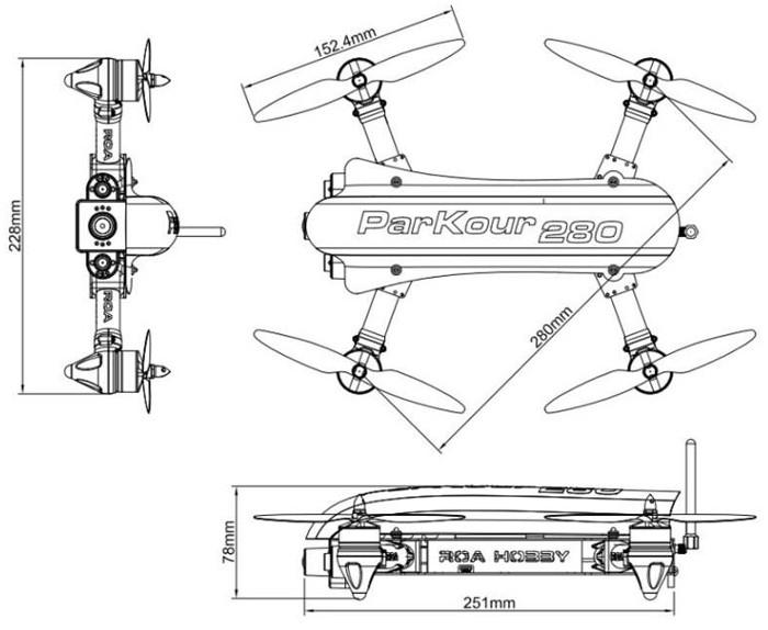 drone quadricottero  roa parkour 280 racer
